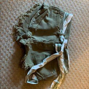 Green Denim Shorts